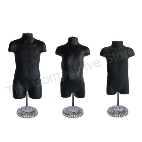 Infant + Toddler + Child Mannequin Form With Economic Plastic Base - Black by EZ-Mannequins