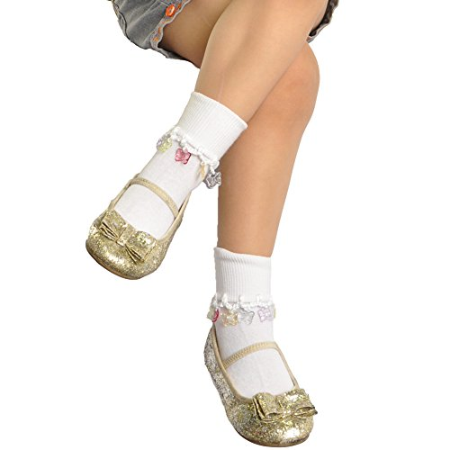 Circo Cotton-Rich Girl's Charm Socks 12 Pack (Sock Size 7-8.5, Butterfly on White)