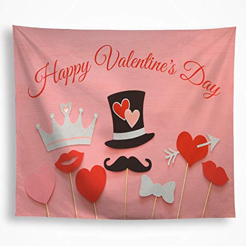 VAKADO Romantic Happy Valentine's Day Tapestry Wall Hanging Love Hearts Red Lips Beard Crown Wall Art Blanket Decor for Party Bedroom Decorations 51