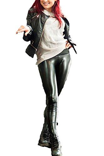 MA ONLINE Womens Ladies Pu Latex Wet Look Hi Gloss Vinyl Stretch Shinny Legging Pants Trousers S/L