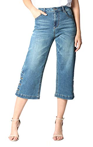 Grace in LA Jeans | Junior High Rise Crop Jean | Stretch | Size 28| HCF9337 Blue ()