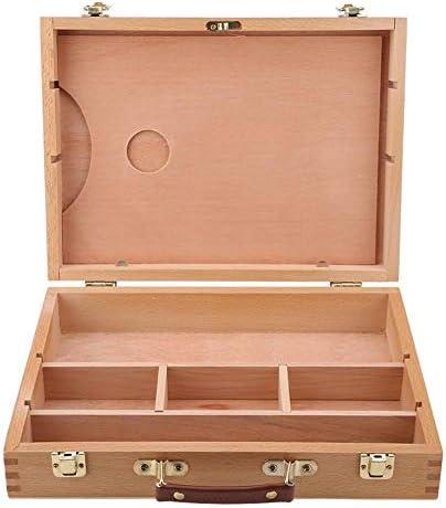 Künstler-Aufbewahrungsbox, Multifunktions-Holz-Kunstbox Tragbare Holz-Künstler-Desktop-Hülle Staffelei-Box Art Bin Art Supplies-Aufbewahrung Crafting-Organizer und Aufbewahrungskunst-Aufbewahrungsschu