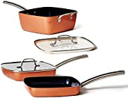 Copper Chef Stack-able Black Diamond 5-piece Non-Stick Fry Pan Set, 9.5 Inch grill pan, 9.5 Inch griddle pan,