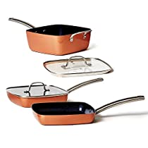 Copper Chef Stack-able Black Diamond 5-piece Non-Stick Fry Pan Set, 9.5 Inch grill pan, 9.5 Inch griddle pan, 4.5 Quart saucepan. Copper Chef Recipes Cookbook Included