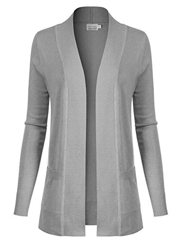 Design by Olivia Women's Open Front Long Sleeve Classic Knit Cardigan Heather Grey L ()