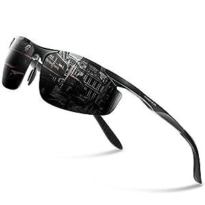 PAERDE Men's HOT Fashion Driving Fishing Golf Polarized Sunglasses for Men Al-Mg Metal Frame Ultra Light PA03(Black)