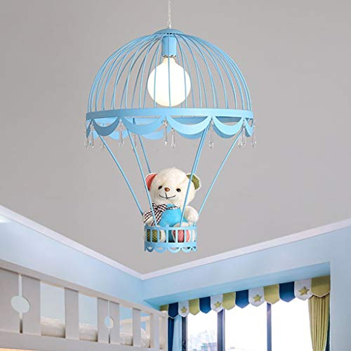 RXY-(1-1) Cartoon Iron Hot Air Balloon Chandelier Led Eye Protection Children's Room Ceiling Lamp (Color : Blue) -