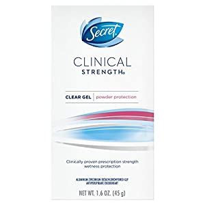 Secret Clinical Strength Antiperspirant and Deodorant Clear Gel, Powder Protection, 1.6 Oz.