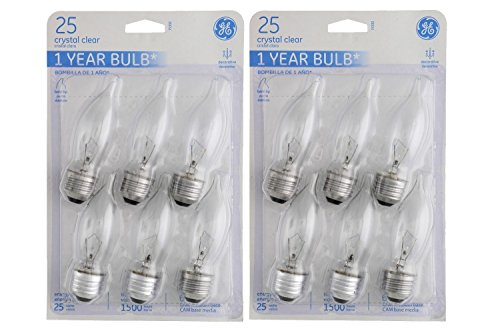 Bent Tip Clear (GE Crystal Clear 25 Watt Bent Tip Decorative CA Type Bulbs, 6 count (2 Pack))