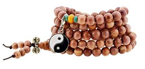 108 Tibetan Cedar Yoga Meditation Prayer Beads Mala Necklace Wrap Bracelet (Yin Yang)