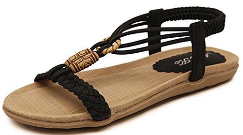 Beaded Sandals Women Black Elastic Shoes T IDIFU Strap FPSwx55q