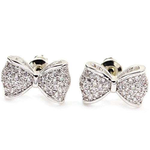 Bow Stud Earrings - FC JORY White Gold Plated Alloy Crystal CZ Bow Knot Women Girl Stud Earrings