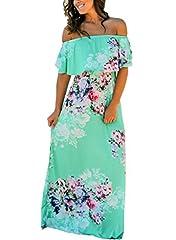 Happy Sailed Women Floral Print Off Shoulder Maxi DressesSizeChart(in):Small: Bust 33-39, Waist 24-36, Hip 35-42,Length 49.Medium: Bust 35-42, Waist 26-39, Hip 37-44,Length 50.Large: Bust 37-44, Waist 28-43, Hip 48,Length 50.X-Large: Bust 39-...