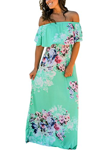 Happy Sailed Women Floral Print Off Shoulder Maxi Dresses, Medium Green