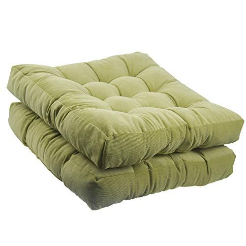 Tiita Solid Papasan Patio Seat Cushion Square Chair Pad Home Floor Cushion 22 Inch Set of 2 Throw Pillows Indoor/Outdoor Green (Cushions Outdoor 22x22)