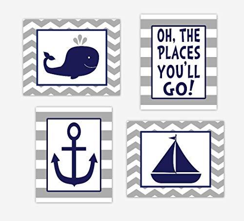 Nautical Baby Boy Nursery Wall Art Navy Blue Gray Whale Sailboat Anchor Oh The Places You'll Go Baby Nursery Decor SET OF 4 UNFRAMED PRINTS ()
