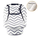 Stretchy Baby Car Seat Covers For Boys Girls - Infant Car Canopy for Spring Autumn Winter - Snug Warm Breathable Windproof - Zipped Peep Window - Universal Fit - Grey White chevron -Patented Design