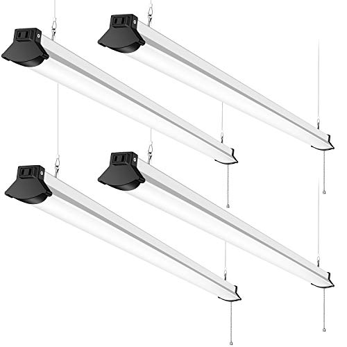 Linkable LED Shop Light 4FT 50W 5600 Lumens LED Garage Lights 4 Foot 5000K Daylight White FaithSail 120W Fluorescent Lighting Fixture Replacement Plug in with Power Cord Pull Chain, 4 Pack