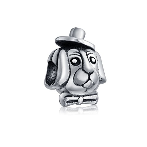 Puppy in a Top Hat Bead Charm .925 Sterling Silver by Bling Jewelry