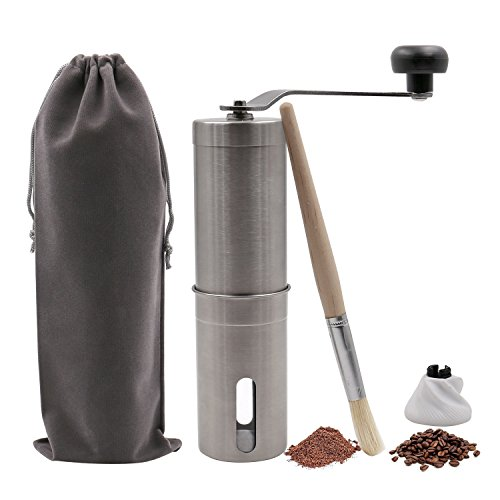 Manual Coffee Grinder with Adjustable Ceramic Conical Burr Coffee Mill for Home Office Travel Stainless Steel Coffee Grinder(Travel Bag + Cleaning Brush + Extra Burr)