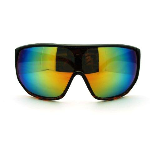 Futuristic Mens Oversized Shield Mono Lens Sport Warp Sunglasses Black Tortoise -