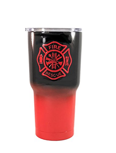 Fire Fighter - Personalized 30 oz Custom Powder Coated Stainless Steel Tumbler - Duplicate of Yeti Rambler (Logo is SEALED)