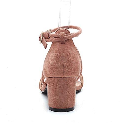 Pompe Aguzzo Tacco Incrociato Sandali Rosa Donna Xianshu Open Dita Blocco Fibbia Scarpe 7WS4Aw