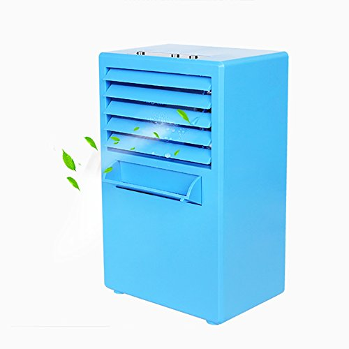TY&WJ Mini portable Air conditioner fan Bladeless quiet For office Dorm Nightstand Small desktop fan Air cooler-Blue 15x10x25cm(6x4x10inch) ()