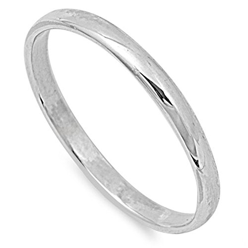 Sterling Silver Wedding 2mm Band Plain Comfort Fit Ring Solid 925 Size 7 (Men Sterling Silver Size 7 Ring)