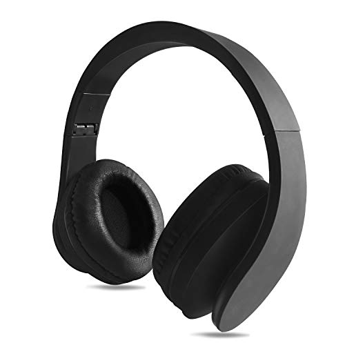FX-Viktaria Wireless Headphones, Over Ear Headset with Microphone, Foldable and Lightweight, Support TF Card, USB Charging Headset, MP3 Mode and FM Radio for Cellphones Laptop- Black