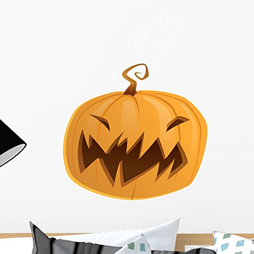 Wallmonkeys Halloween Scary Cartoon Vector Pumpkin Trick or Treat Wall Decal Peel and Stick Graphic WM153887 (18 in H x 18 in (Educational Halloween Cartoons)