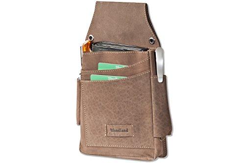 Woodland® - Robustes Profi-Kellnerbörsen-Holster aus weichem, naturbelassenem Büffelleder in Dunkelbraun/Taupe, Braun