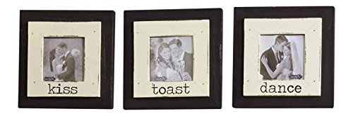 Dance Kiss Toast Wedding Photo Frames Wood Set of 3 Wall or Tabletop Décor by Mud Pie