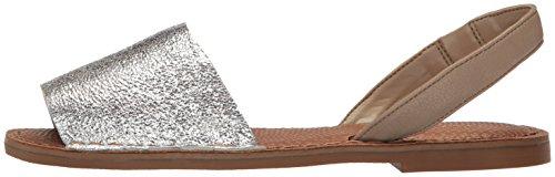 Nine West 25025279 Women's Izzio Metallic Dress Sandal, Silver/Dark Taupe, 6.5 M US