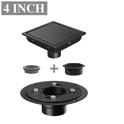 (Ushower 4 Inch Square Drain for Shower with Drain Base Flange 2 Inch Outlet, Floor Tile in Drain Square with Threaded Adapter, Rubber Coupler, Hair Strainer for Bathroom Kitchen Basement, Black)