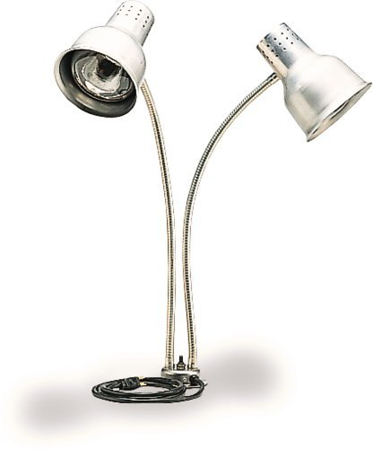 "Carlisle HL828500 FlexiGlow Aluminum Heat Lamp with Bulbs, Dual Arm, 24"" H x 4"" Base Dia., Silver"