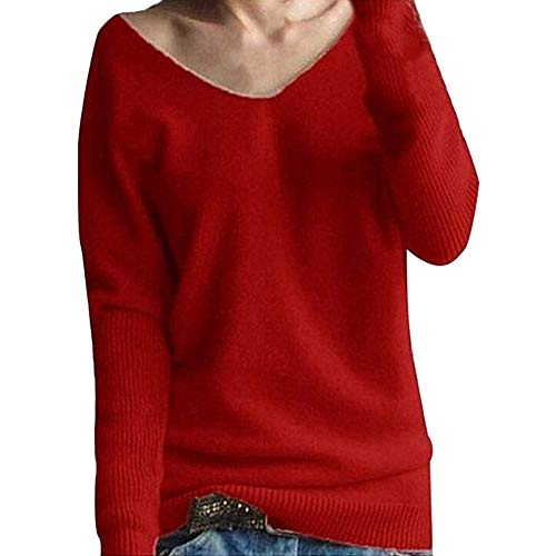 COPPEN Women Blouse Winter Batwing Sleeve Solid Knitted Sweater Pullover Tops -