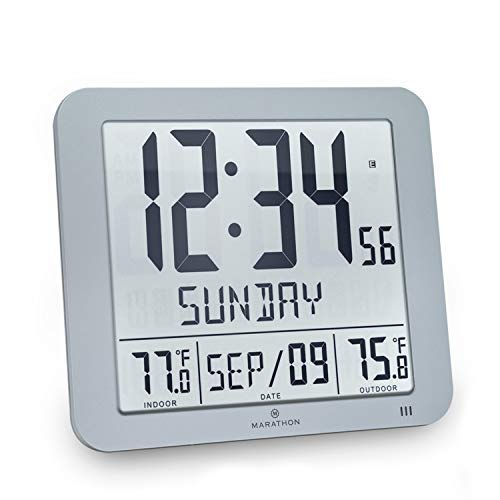 - Marathon CL030027-FD-GG Slim Atomic Wall Clock with Indoor/Outdoor Temperature, Full Calendar and Large Display (New Full Display) Color: Graphite Grey