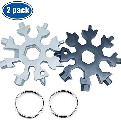 18-in-1 Stainless Steel Snowflake Multi-Tool, Portable Outdoor Travel Camping Multi-Function EDC Key Ring/Bottle Opener/Screwdriver / Fashion Pendant Pocket Size,Christmas Gift