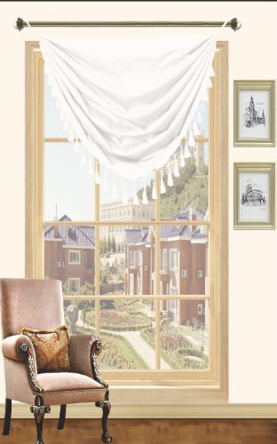 Holly Faux Silk Window Curtain, Valance, Grommet, 57x90, 1 PACK (White) ()
