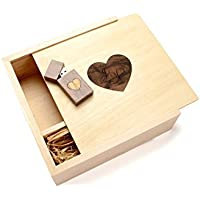 Walnut 16GB USB Flash Drive - 4 x 6 Photo Box. Holds 125 Photos - Inserted into a Inlaid Heart Veneer Maple Photo Box with Raffia grass inside - Heart Veneer Design