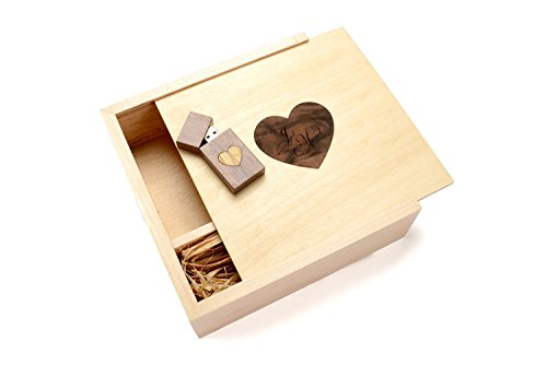 125 Walnut (Walnut 16GB USB Flash Drive - 4 x 6 Photo Box. Holds 125 Photos - Inserted into a Inlaid Heart Veneer Maple Photo Box with Raffia grass inside - Heart)