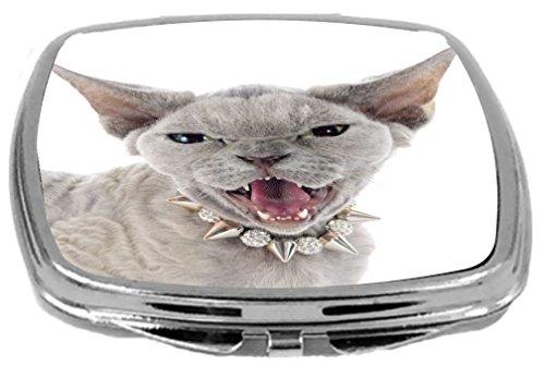 Rikki Knight Devon Rex Cat with Angry Expression Design Compact Mirror, 17 Ounce (Devon Mirror)