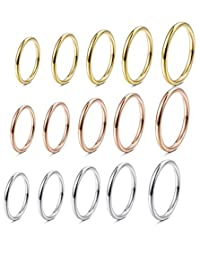 Finrezio 10-15PCS Women's 1MM Stainless Steel Plain Band Knuckle Stacking Rings Fashion Thin Midi Rings Comfort Fit Size 2-11