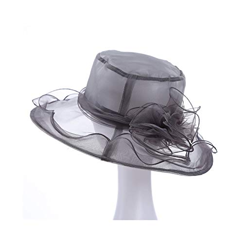 Sun Hat Flower Elegant Church Hats Women Stylish Lightweight Hawaiian Beach Hat,Gray,59cm