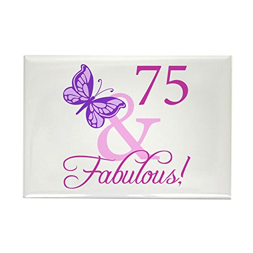 CafePress 75 & Fabulous (Plumb) Rectangle Magnet, 2