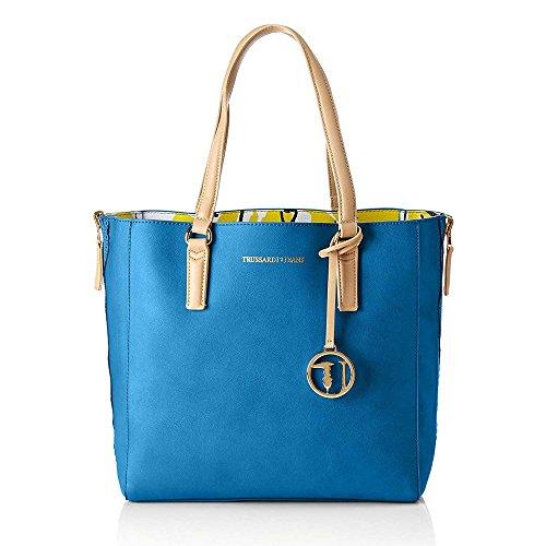 Borsa Shopping Bag Trussardi Jeans Blu-Giallo