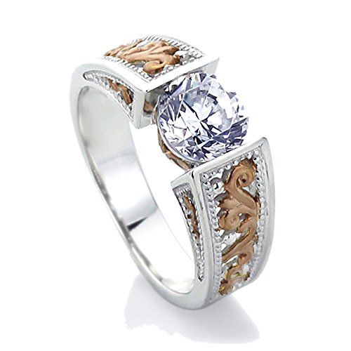 Antiqued Silver Tone Ring (Sterling Silver 1.25ct Round CZ 14K Rose Gold Plated Two Tone Wedding Engagement Ring ( Size 5 to 9 ))