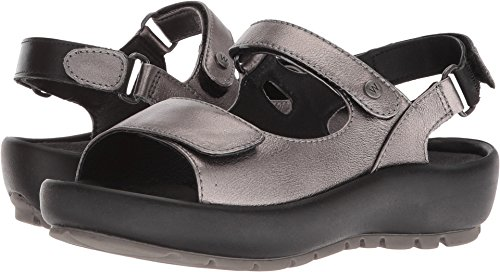Womens Anthracite Leather Rio Metallic Sandals Wolky OSwTAqx