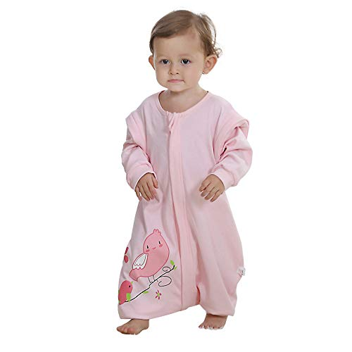 Quavey Walker Toddler Baby Sleep Bag Cotton Long Sleeves Wearable Blanket with Feet Kids Boys Girls Clothes(Pink,Large)